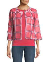 ESCADA - Grid-pattern 3/4-sleeve Snap-front Leather Jacket - Lyst