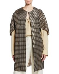 Josie Natori Woven Metal Open-front Cardigan Coat - Multicolor