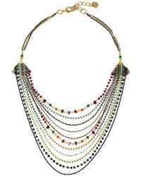 Nakamol Layered Bib Chain Necklace - Metallic