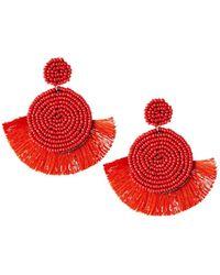 Panacea - Circular Seed Bead & Fringe Earrings Red - Lyst