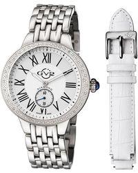 Gv2 - 40mm Astor Bracelet Watch W/ Diamond Bezel & Interchangeable Strap Silver - Lyst