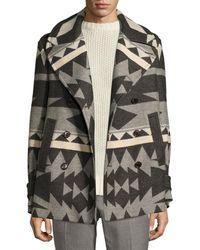 Ralph Lauren - Beacon Patterned Wool Pea Coat - Lyst