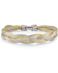 Alor - Braided Stainless Steel Micro-cable Bracelet Yellow/gray - Lyst