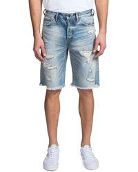 PRPS Men's Shredded Denim Shorts - Blue