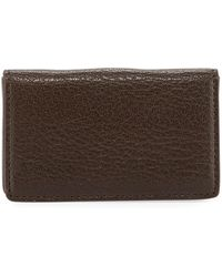 Graphic Image Magnetic Goatskin Leather Card Case - Brown