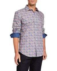 Bugatchi Men's Shape-fit Printed Long-sleeve Sport Shirt - Blue