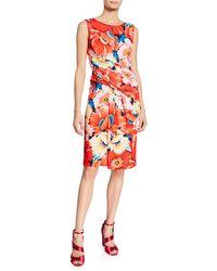 T Tahari - Floral Draped Fit-&-flare Dress - Lyst