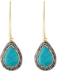 Native Gem Ilume Simulated Turquoise & Crystal V-hook Drop Earrings - Blue