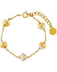 Majorica - Tea Cup Yellow Golden 7mm White Pearl Bracelet - Lyst