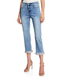 Neiman Marcus - Ruffle-cuff Cropped Jeans - Lyst