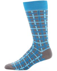 Jared Lang - Men's Grid Cotton Socks - Lyst