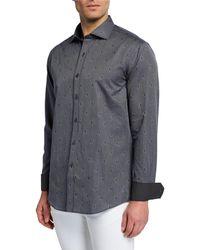 Bugatchi Men's Shaped-fit Woven Print Shirt - Purple