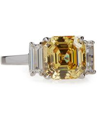 Fantasia by Deserio Asscher-cut Canary Crystal Cocktail Ring Size 7 - Yellow