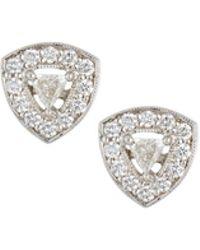 Penny Preville - 18k White Gold Trillion Diamond Stud Earrings - Lyst