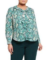 Tahari - Plus Size Long-sleeve Ruffle-front Blouse - Lyst