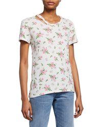 Pam & Gela Distressed Floral-print Tee - White