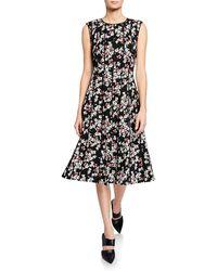 Lafayette 148 New York - Marley Floral-print Sleeveless Midi Dress With Pintucking - Lyst