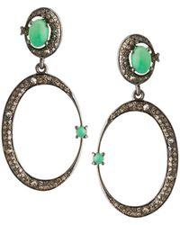Bavna - Silver 1/2-moon Drop Earrings With Chrysoprase & Diamonds - Lyst