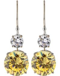 Fantasia by Deserio - Double Round-drop Cz Earrings - Lyst