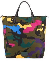 Valentino Men's Camo-print Rockstud Nylon Tall Tote Bag - Multicolour
