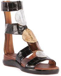 Chloé Wanda Flat Crocodile-embossed Gladiator Sandals - Black