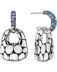 John Hardy - Kali Silver Lava Drop Earrings W/ Swiss Blue Topaz & Iolite - Lyst