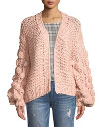 Haute Rogue - Chunky-knit Balloon-sleeve Cardigan - Lyst