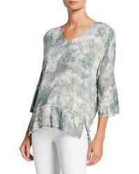 XCVI Fringed 3/4-sleeve Top - Multicolor
