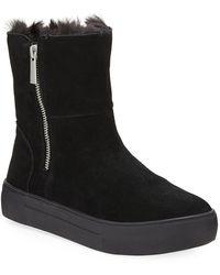 J/Slides Alisa High-top Faux-fur Bootie Sneakers - Black