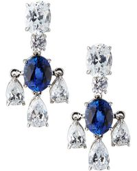 Fantasia by Deserio - 18k White Gold 3-pear Drop Earrings Synthetic Sapphire - Lyst