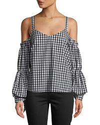 Romeo and Juliet Couture - Cold-shoulder Tie-sleeve Gingham Blouse - Lyst