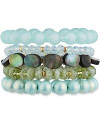 Lydell NYC - Mixed-bead Bracelet Set Of 5 Blue - Lyst