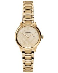 Burberry - 32mm Round Golden Stainless Steel Bracelet Watch - Lyst