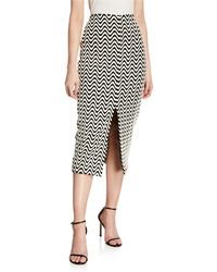 Yigal Azrouël Front-slit Wave Print Skirt - Multicolor