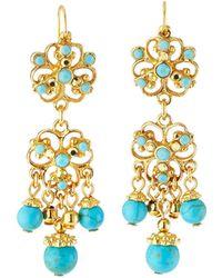 Jose & Maria Barrera Filigree & Turquoise Drop Earrings - Blue