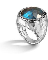 John Hardy - Palu Silver Large Oval Labradorite Ring - Lyst