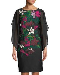 Donna Ricco - Floral-print Chiffon-sleeve Cocktail Dress - Lyst
