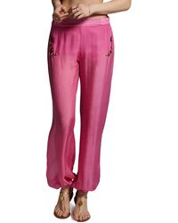 Anya Maj Jasmine Silk Chiffon Embroidered Pants Pink