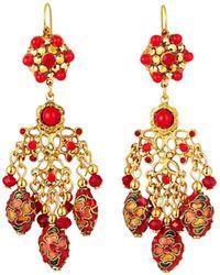 Jose & Maria Barrera Cloisonne Chandelier Earrings Red