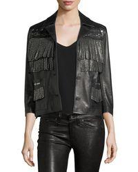 86b04e750 Vista Studded Fringe Leather Jacket - Black