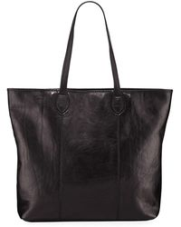 Neiman Marcus Slim Large Leather Tote Bag - Black