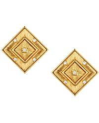 Buccellati - Estate 18k Gold Square Stud & Diamond Earrings - Lyst