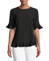 Carmen By Carmen Marc Valvo - Pleated-trim Elbow-sleeve Blouse - Lyst