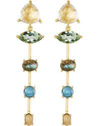 Indulgems - Mixed-stone Linear Dangle Earrings W/ Rock Crystal - Lyst