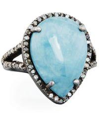 Bavna - Aquamarine & Diamond Teardrop Cocktail Ring - Lyst