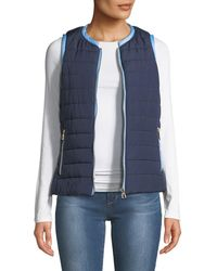 Sail To Sable Short Quilted Puffer Vest - Blue