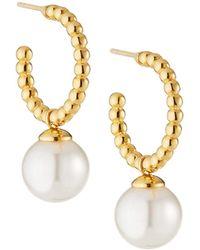 Majorica 10mm Pearl-drop Hoop Earrings - White