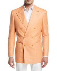 Stefano Ricci Tonal-stripe Double-breasted Sport Coat Orange