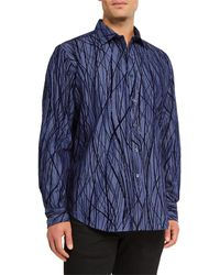 Bugatchi Men's Classic Fit Velvet-textured Sport Shirt - Blue