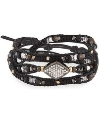 Nakamol Adjustable Beaded Crystal and Leather Bracelet SJ96EK